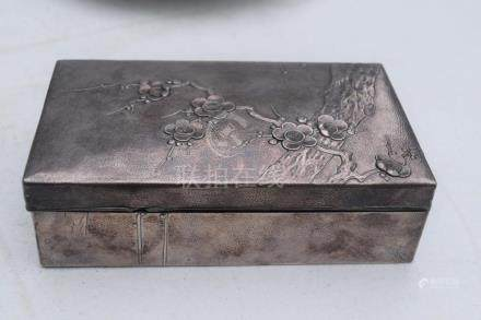 A Silver Plum Flower Zitan Box
