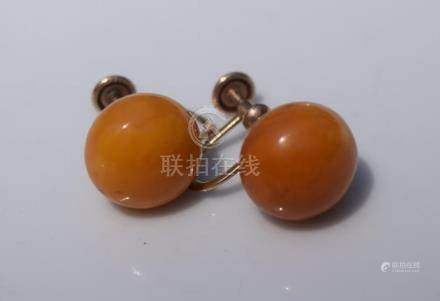 Pair of 10K Gold Butter Scotch Amber Earrings