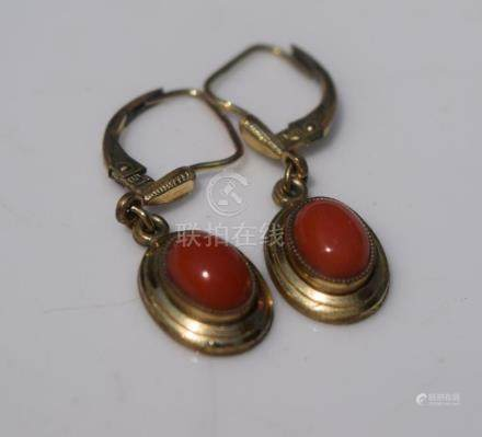 Pair of Red Coral Earrings