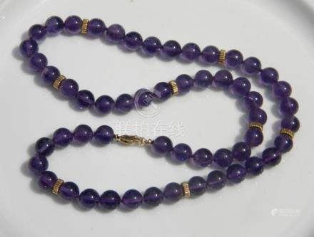 Vintage 14K Gold Beads Amethyst Necklace