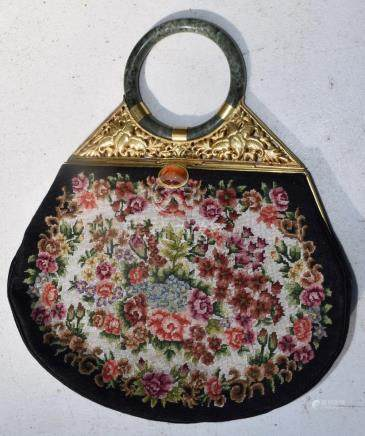 Vintage Purse with Jade Handel