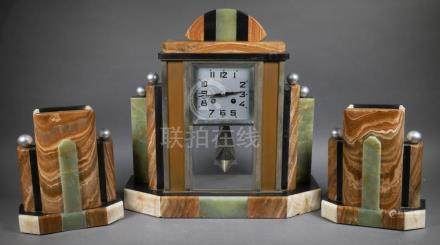 Period Art Deco Onyx French Clock Set