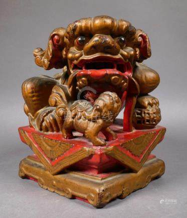 Antique Chinese Gilt & Lacquered Foo Dog Statue