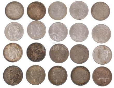 Roll of 20 Morgan & Peace Silver Dollars