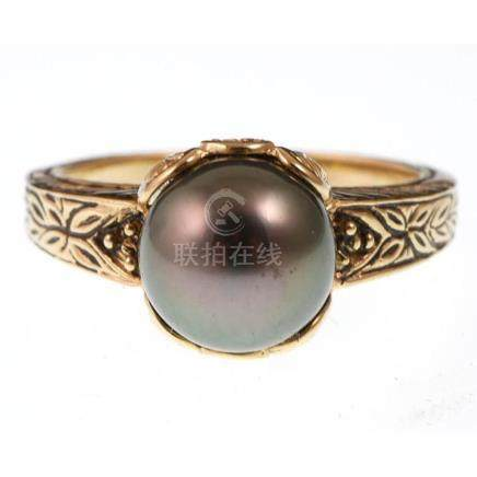 14k Gold Ornate Tahitian Pearl Ring sz 7