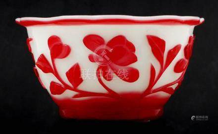 Chinese Peking Red Cased Cameo Glass Bowl