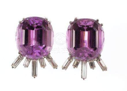 14k White Gold Kunzite & Diamond Earrings