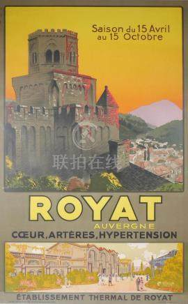 Vintage French Travel Poster Royat Auvergne