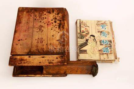 A BOOK BOX AND PICTURES OF CHINESE SEX BOOK 'YUAN YANG PU',