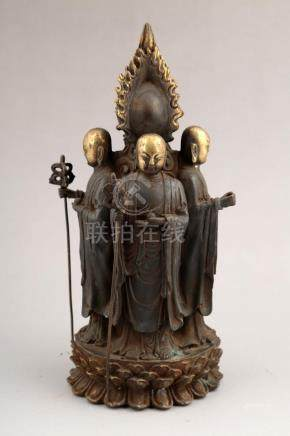 CHINESE GILT- LACQUERED BRONZE FIGURE OF BUDDHA.