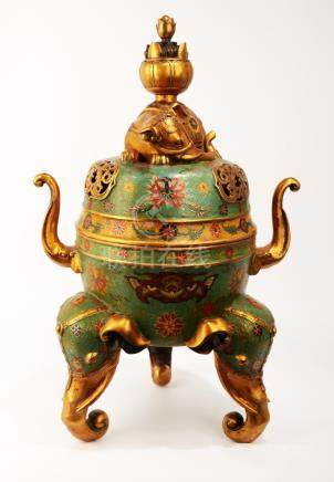 A SPECTACULAR CHINESE CLOISONNE ENAMEL INCENSE BURNER.THE BA