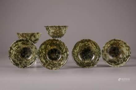 Six jadeite bowls