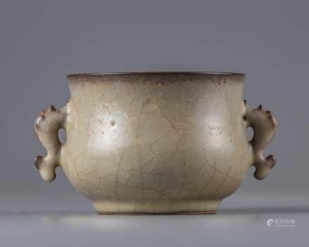 A crackle-glazed censer
