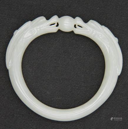 CHINESE WHITE JADE DRAGON BANGLE