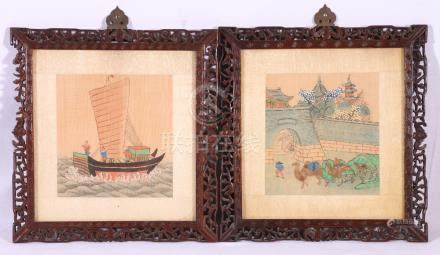 Pair of Chinese watercolours on silk depicting a camel and figures in a boat,