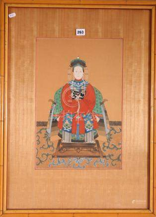 Chinese 20th Century Ancestor style painting of a female figure, framed and glazed, 46cm x 30cm.
