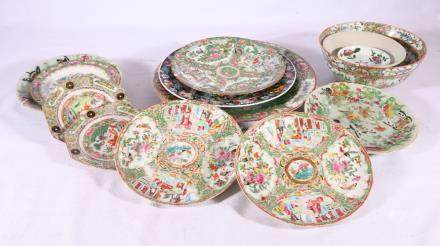 Group of late 19th Century and 20th Century Chinese Canton famille rose ceramics, including plates,