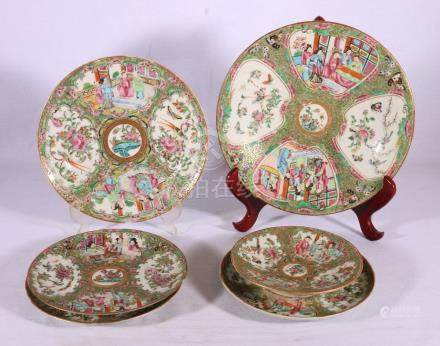Six pieces of Chinese Canton famille rose porcelain, a dish, a plate,