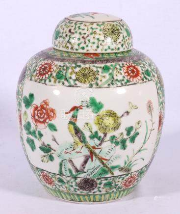 19th Century famille verte ginger jar and domed cover,