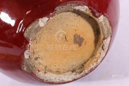 Large 19th Century Chinese flambe bottle vase with sang de boeuf glaze,