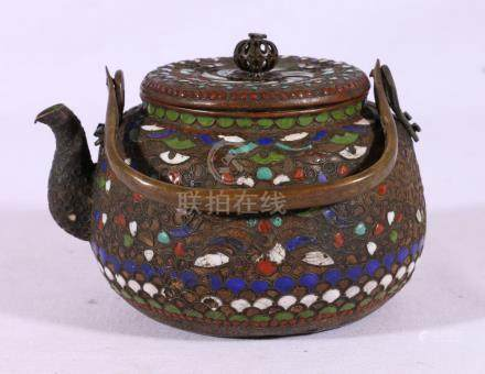 Chinese champleve enamelled teapot with pierced spherical knop,