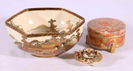 Group of Satsuma including a miniature tea pot and lid,