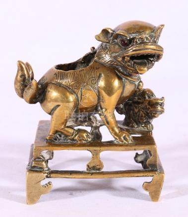 Late 18th Century or early 19th Century Chinese bronze, censer modelled as a lion dog,