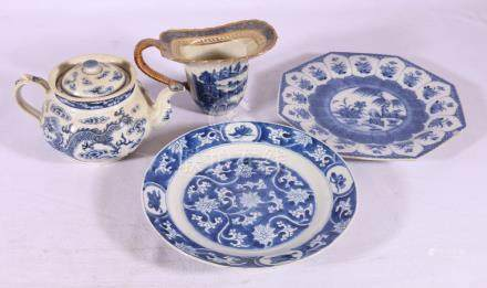 Four pieces of Chinese blue and white porcelain including,