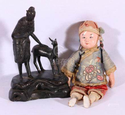 Chinese 19th Century bronze, nicely modelled figure of a young man with a deer,