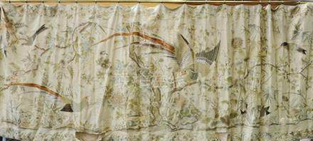 Large elaborate late 19th century Chinese embroidered silk wall hanging depicting birds amongst