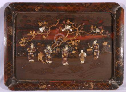 Japanese lacquered and inlaid panel,