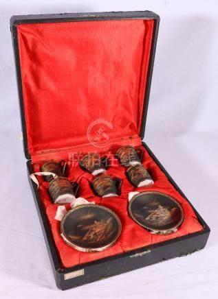 Japanese black and gilt six piece coffee set, boxed, signed to base, Meiji/Taisho.