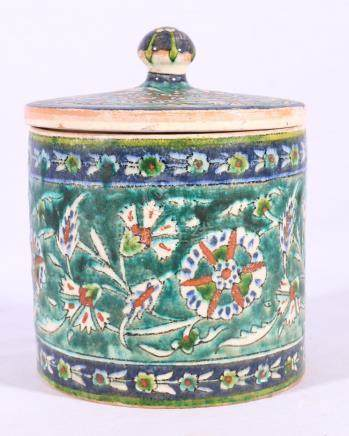 Iznik jar and cover of circular section,