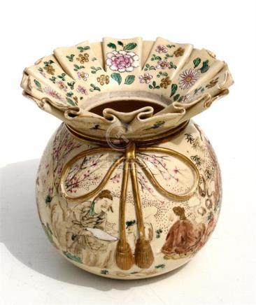 A late 19th century Japanese Satsuma vase in the form of a tied bag, decorated with figures in a