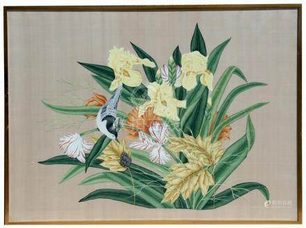 A large Chinese watercolour on silk depicting a bird, butterfly and flowers, framed & glazed, 116 by