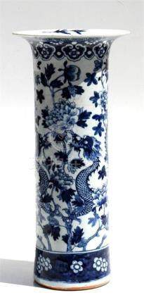 A 19th century Chinese blue & white sleeve vase decorated with a dragon amongst foliage (