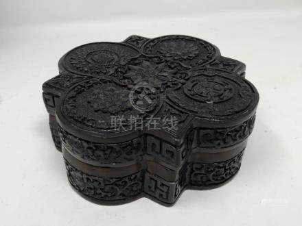 An unusual Chinese cinnabar lidded box of Persian design.
