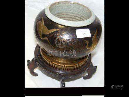 A 20cm diameter Chinese lacquered papier mache pla
