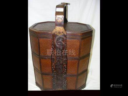 Octagonal shaped Chinese three compartment storage