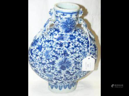 Chinese blue and white moon flask - 26cm tall