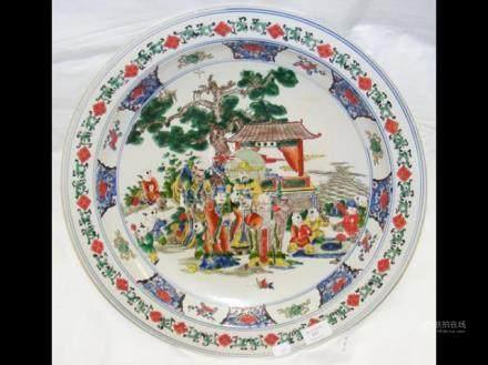 A large oriental Famille verte charger - 46cm diam