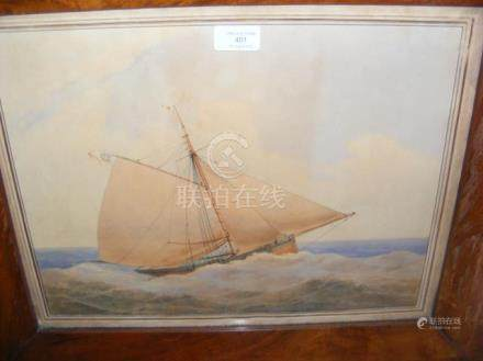 Victorian watercolour of sailing vessel in rough s
