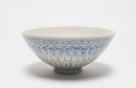A Chinese Blue and White Porcelain Bowl明初-青花印紋供碗