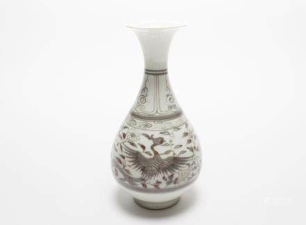 A Chinese Blue and White Copper-Red Porcelain Yuhuchun Vase元