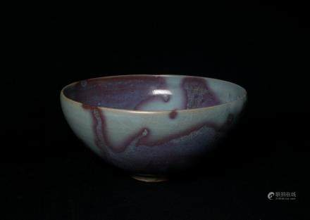 A Chinese Purple-Splashed Jun Porcelain Bowl金代-鈞窯葡萄紫斑大碗