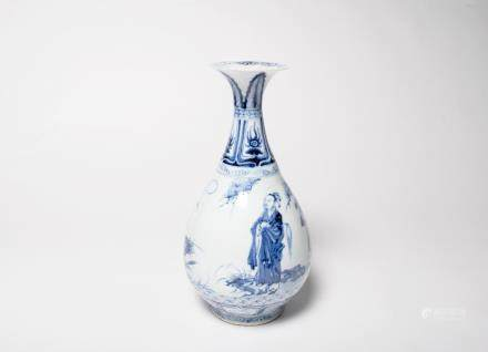 A Chinese Blue and White Porcelain Yuhuchun Vase元代-青花高士玉壺春瓶