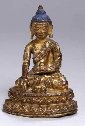 Bronze-Plastik, \Buddha\, Tibet, 14./15. Jh., auf Doppellotossockel vollplastische Darstellung in