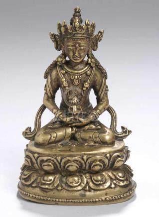 Bronze-Plastik, \Amitayus\, Tibet, 15. Jh., auf Doppellotossockel vollplastische Darstellung Buddhas