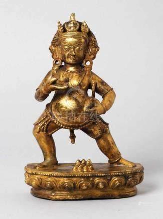 Bronze-Plastik, \Vajrapani\, Tibet, 19./20. Jh., auf Lotossockel mit rückseitigen Einsteckösen für