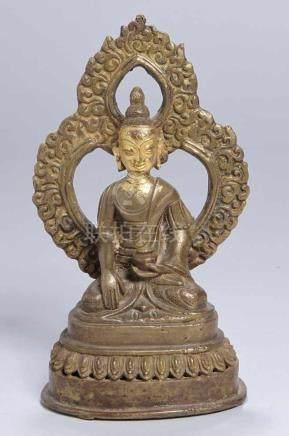 Bronze-Plastik, \Buddha\, Tibet oder China, 17./18. Jh., auf Lotossockel vollplastische